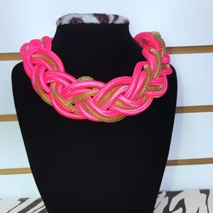 Vibrant Neon Pink & Gold Braided Necklace